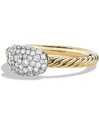 David Yurman - Petite Pavé Cushion Ring With Diamonds In Gold - Lyst