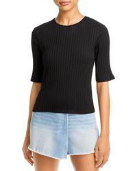 Vince Ribbed Elbow Sleeve Top - Black