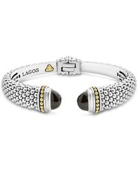 Lagos - 18k Gold And Sterling Silver Caviar Color Onyx Cuff - Lyst