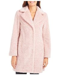 Vince Camuto Notched Collar Faux - Fur Coat - Pink