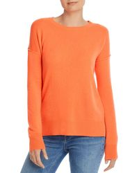 Aqua Cashmere High/low Crewneck Sweater - Orange