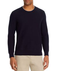 Bloomingdale's Tipped Textured Crewneck Jumper - Blue
