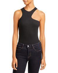 Aqua Ribbed Asymmetric Bodysuit - Black