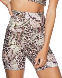 Beach Riot Botanical Leopard Print Bike Shorts - Multicolor