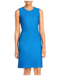 St. John Sleeveless Honeycomb Knit Dress - Blue