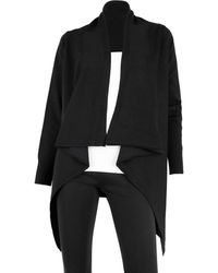 Sioni Open Front High/low Cardigan - Black