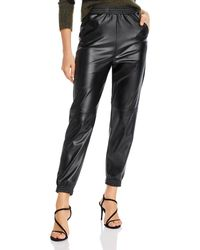 Aqua Faux Leather Jogger Trousers - Black