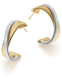 Marco Bicego - 18k White & Yellow Gold Masai Crossover Hoop Earrings - Lyst