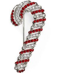 Nadri - Jolly Red Candy Cane Pin - Lyst