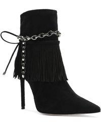 Schutz Women's Monah Fringe High Heel Booties - Black