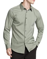 Theory Sylvain Slim Fit Fit Button - Down Shirt - Green