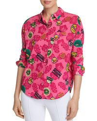 Scotch & Soda Tropical - Print Boxy Button - Down Top - Pink