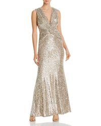 Aqua Sequined Twist - Front Gown - Metallic