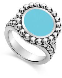Lagos Sterling Silver Maya Ceramic Ring - Metallic