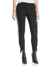Aqua - Fringed Skinny Jeans In Black - Lyst