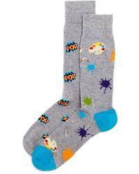 Bloomingdale's Pop Art Calf - Height Socks - Gray
