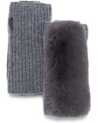 Yves Salomon Rex Rabbit - Fur Trim Cashmere Fingerless Gloves - Gray