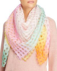 Fraas Cotton & Silk Vichy Scarf - Pink