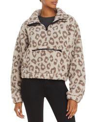 Aqua Athletic Leopard Print Sherpa Fleece Jacket - Brown