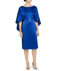 St. John Lightweight Liquid Satin V Back Dress - Blue