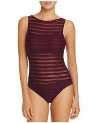Ralph Lauren - Lauren Ottoman Boat Neck One Piece Swimsuit - Lyst