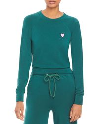 Sundry Pink Heart Sweatshirt - Green