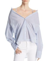 Kenneth Cole - Striped Convertible Button-down Top - Lyst