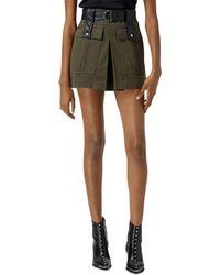 The Kooples Short Khaki Belted Skirt - Multicolour