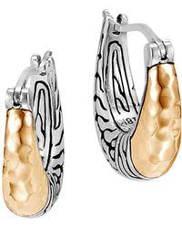 John Hardy Sterling Silver & 18k Bonded Yellow Gold Hammered Arc Small Hoop Earrings - Metallic
