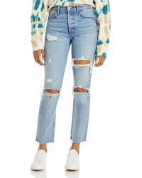 GRLFRND Karolina Cotton Ripped Straight Jeans In A Little More Love - Blue