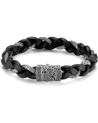 John Hardy Men's Classic Chain Braided Leather Cord Bracelet - Black