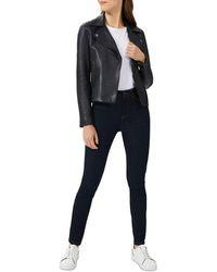 Hobbs Tania Leather Moto Jacket - Blue