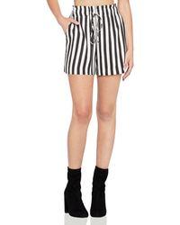 BCBGeneration Striped Drawstring Utility Shorts - Black