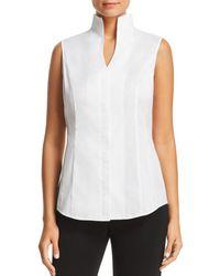 Misook Sleeveless Stretch-cotton Shirt - White