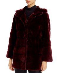 Maximilian Plucked Mink Fur Coat - Black