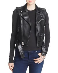 Theory Faux-leather Moto Vest - Black