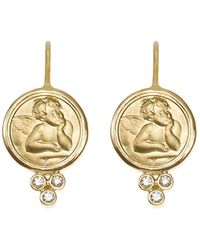Temple St. Clair - 18k Yellow Gold Angel Earrings With Diamonds - Lyst