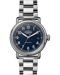 Shinola The Runwell Link Bracelet Automatic Watch - Blue
