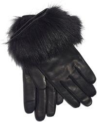 Echo Leather & Faux Fur Tech Gloves - Black