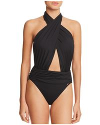 Vince Camuto - Wrap Halter One Piece Swimsuit - Lyst