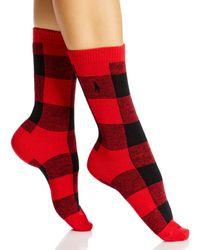 Ralph Lauren Polo Oversized Buffalo Check Boot Socks - Red