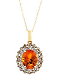 """Bloomingdale's - Citrine Oval With White And Brown Diamond Halo Pendant Necklace In 14k Yellow Gold, 18"""" - Lyst"""
