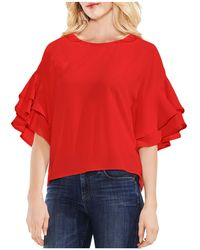 Vince Camuto - Tiered Ruffle Bell Sleeve Blouse - Lyst