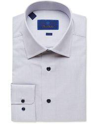 David Donahue Men's Trim-fit Check Dress Shirt - White