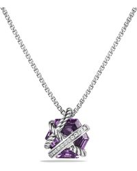 David Yurman - Petite Cable Wrap Necklace With Amethyst And Diamonds - Lyst