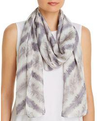 Eileen Fisher Chevron Tie - Dyed Stripe Silk Scarf - Gray