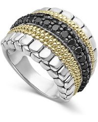 Lagos Diamond Lux Black Diamond Band Ring - Metallic