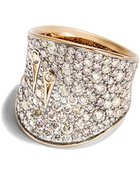 John Hardy - 18k Yellow Gold Cinta Collection One-of-a-kind Bamboo Saddle Ring With Yellow & Champagne Diamond - Lyst