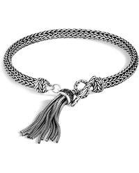 John Hardy - Sterling Silver Classic Chain Tassel Bracelet With Black Sapphire & Black Spinel - Lyst