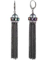 Carolee - Simulated Pearl Chain Tassel Earrings - Lyst
